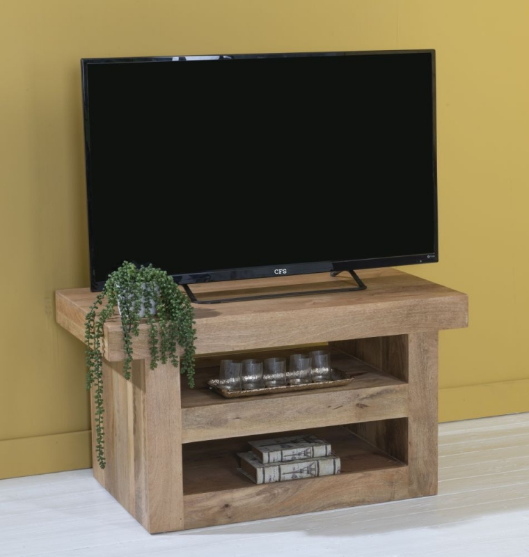 Dakota Indian Mango Wood 110cm Medium TV Unit - Light