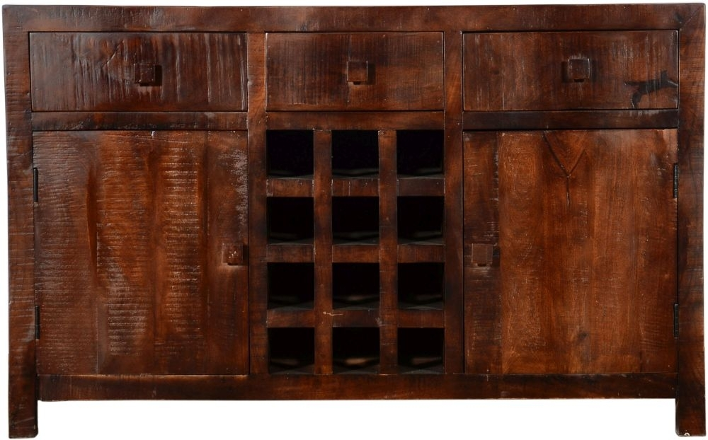 Urban Deco Dakota Dark Mango Distressed 2 Door 3 Drawer Sideboard with Wine Rack