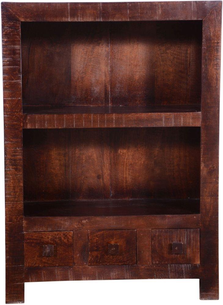Urban Deco Dakota Dark Mango Distressed 3 Drawer Bookcase