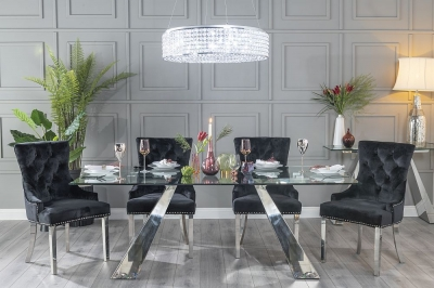 Buy Urban Deco Delta 200cm Glass and Chrome Dining Table with 4 Black Knockerback Chrome Leg Chairs and Get 2 Extra Chairs Worth £358 For FREE