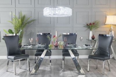Buy Urban Deco Delta 200cm Glass and Chrome Dining Table with 4 Maison Black Chairs and Get 2 Extra Chairs Worth £358 For FREE