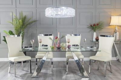 Urban Deco Delta 200cm Glass and Chrome Dining Table and 6 Maison White Chairs