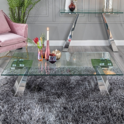 Urban Deco Delta Glass and Chrome Coffee Table
