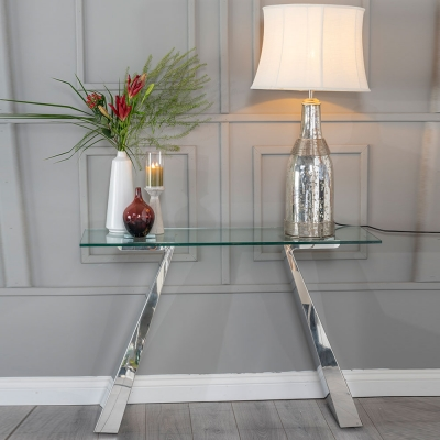 Urban Deco Delta Glass and Chrome Console Table