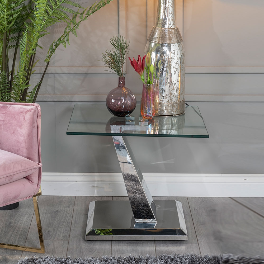 Urban Deco Delta Side Table - Glass and Stainless Steel Chrome