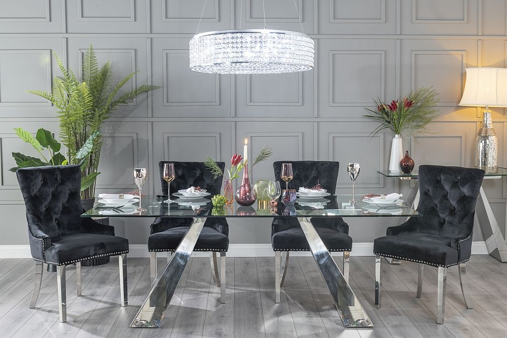 Urban Deco Delta Dining Table with Black Velvet Knockerback Chairs - Glass and Stainless Steel Chrome