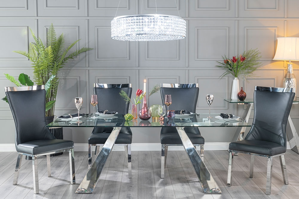 Urban Deco Delta 200cm Glass and Chrome Dining Table