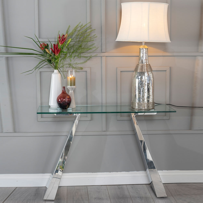 Urban Deco Delta Console Table - Glass and Stainless Steel Chrome