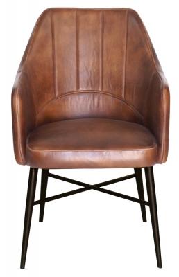 Edgar Genuine Leather Carver Dining Chair - Vintage Brown
