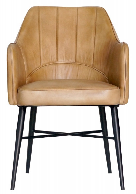 Edgar Genuine Leather Carver Dining Chair - Camel Brown