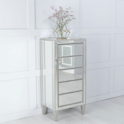 Urban Deco Elysee Pewter Mirrored 5 Drawer Tall Chest