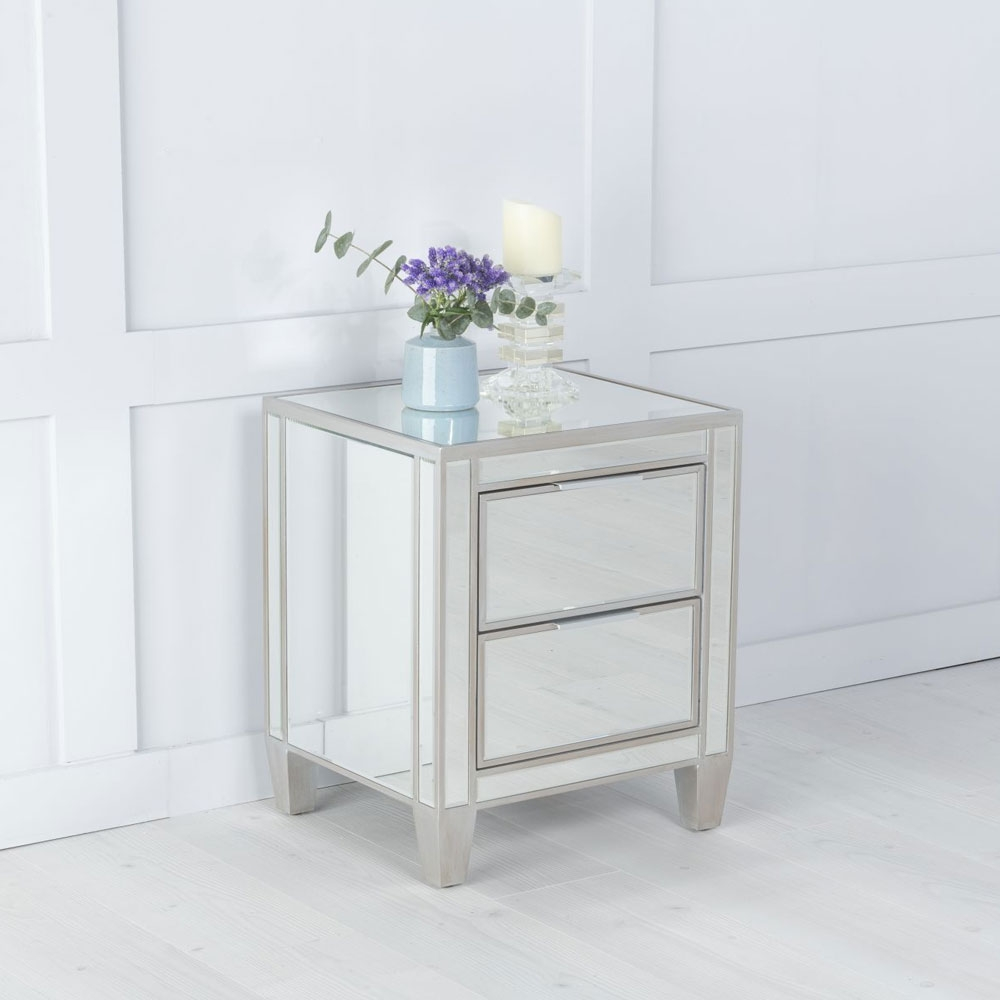 Elysee Mirrored 2 Drawer Bedside Cabinet with Champagne Trim