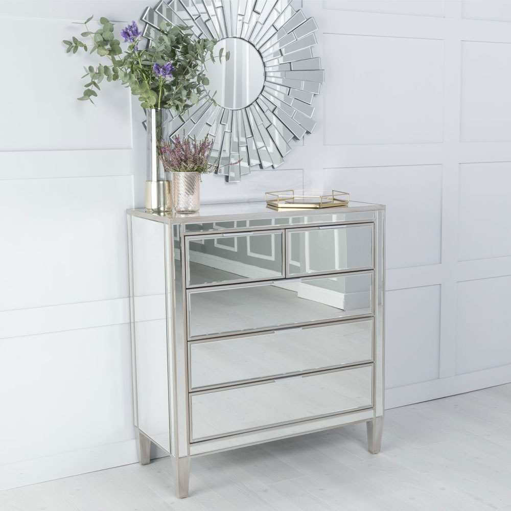 Urban Deco Elysee Pewter Mirrored 3+2 Drawer Chest