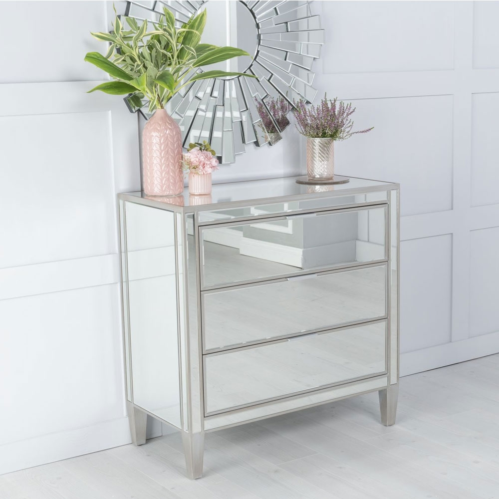 Elysee Mirrored 3 Drawer Chest with Champagne Trim