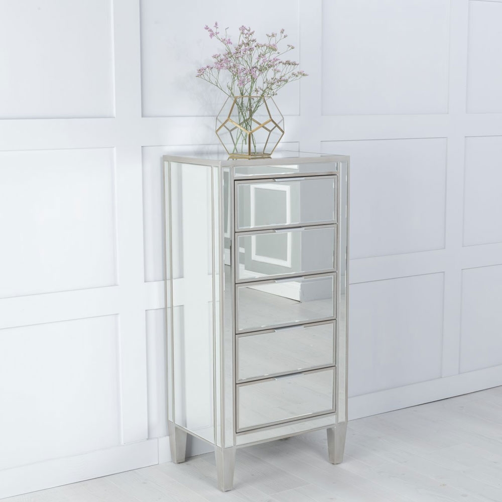 Elysee Mirrored 5 Drawer Narrow Chest - Tallboy with Champagne Trim
