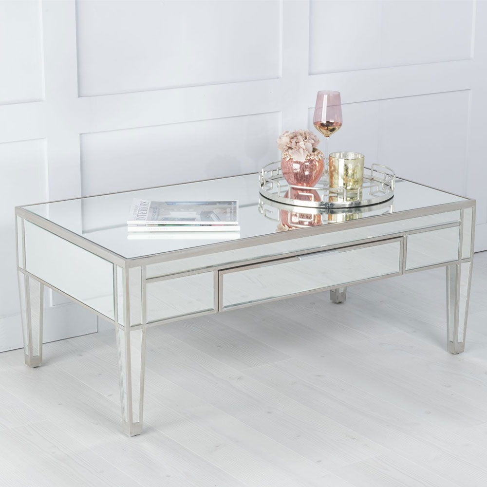 Elysee Mirrored Drawer Coffee Table with Champagne Trim