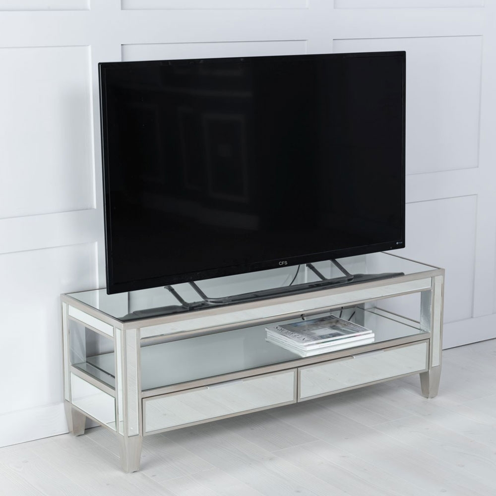 Urban Deco Elysee Pewter Mirrored TV Unit