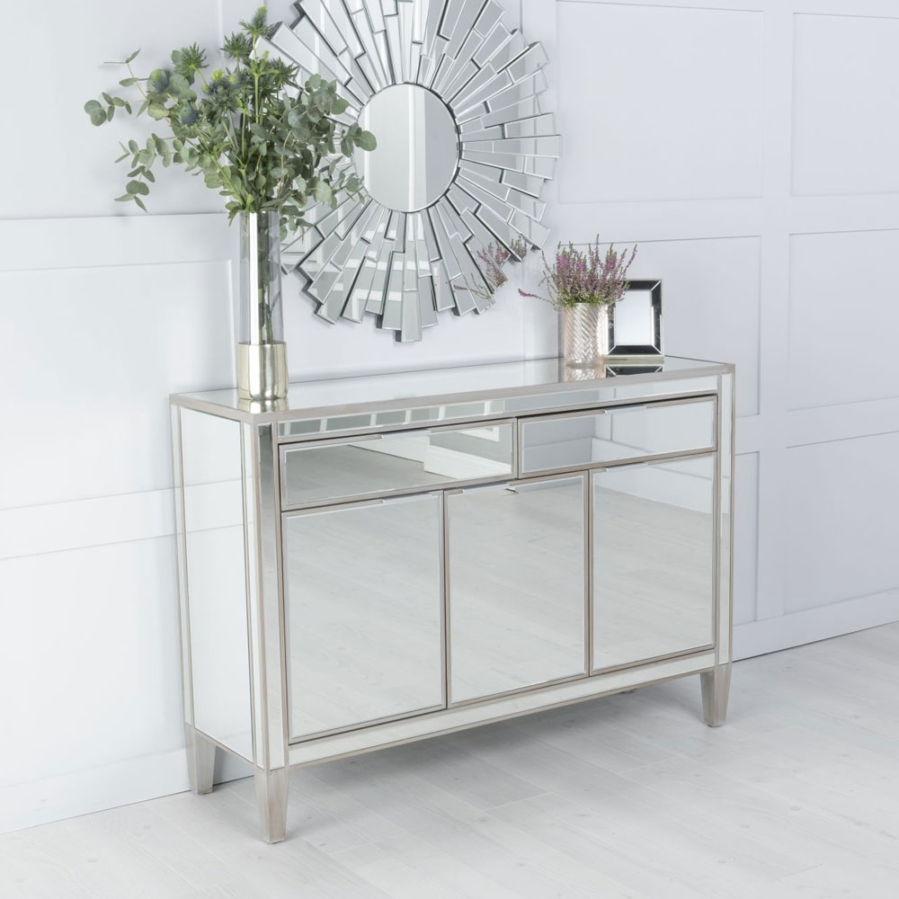 Urban Deco Elysee Pewter Mirrored Large Sideboard