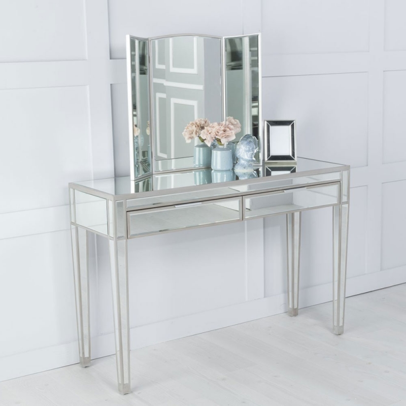 Urban Deco Elysee Pewter Mirrored Dressing Table