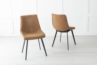 Ezra Metal Tan Brown Dining Chair
