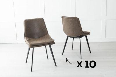 Set of 10 Ezra Metal Brown Dining Chair