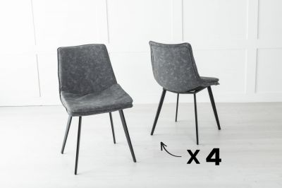 Set of 4 Ezra Metal Grey Dining Chair