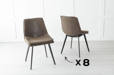 Set of 8 Ezra Metal Brown Dining Chair