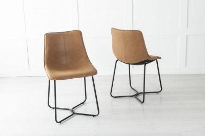 Flint Metal Tan Brown Dining Chair
