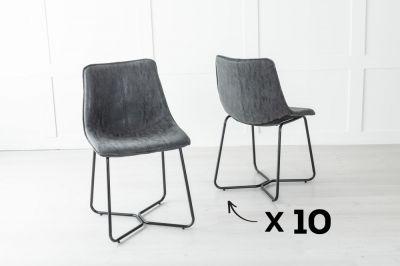 Set of 10 Flint Metal Black Dining Chair