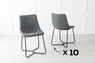 Set of 10 Flint Metal Grey Dining Chair