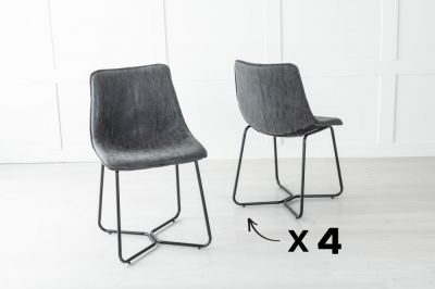 Set of 4 Flint Metal Black Dining Chair