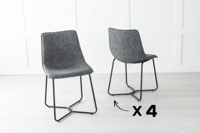 Set of 4 Flint Metal Grey Dining Chair