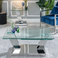 Urban Deco Fusion Rotating Coffee Table - Glass and Stainless Steel Chrome