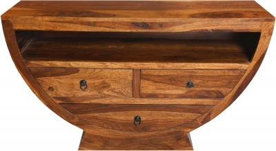 Ganga Indian Sheesham Wood 3 Drawer Half Round 120cm Plasma TV Unit