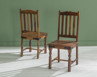 Ganga Indian Sheesham Wood Slatted Back Dining Chair