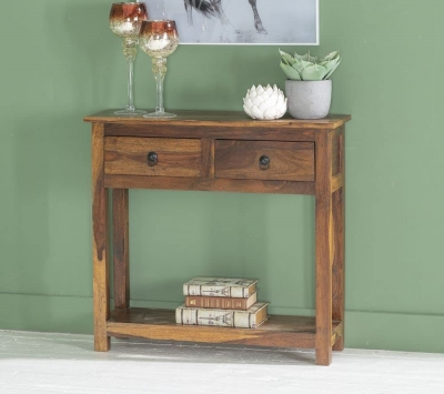 Ganga Indian Sheesham Wood 2 Drawer Console Table