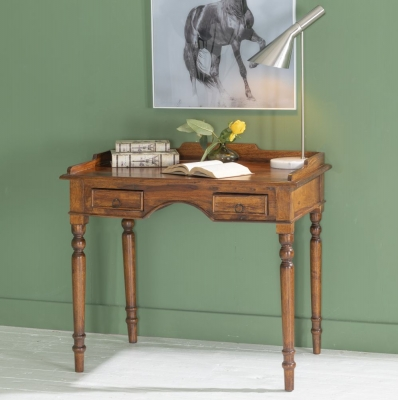 Ganga Indian Sheesham Wood 2 Drawer Writing Desk