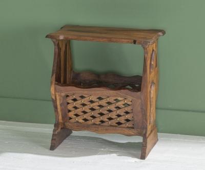 Ganga Indian Sheesham Wood Magazine Storage Side Table
