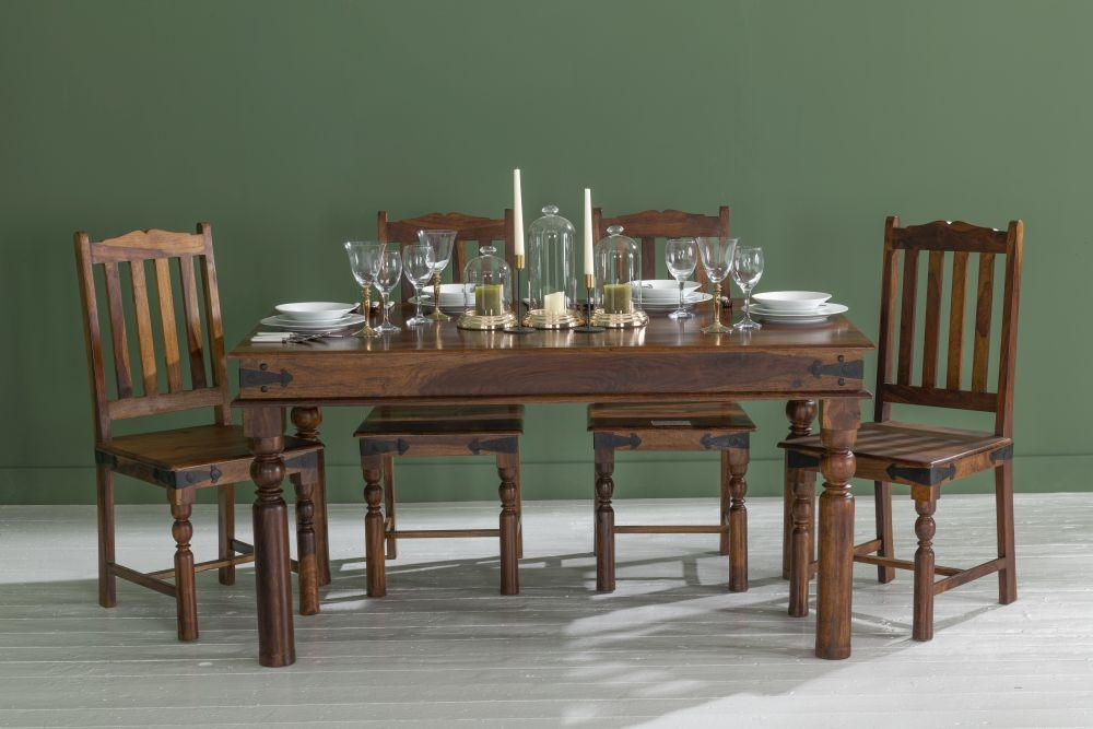 Ganga Indian Sheesham Wood 135cm Rectangular Dining Table