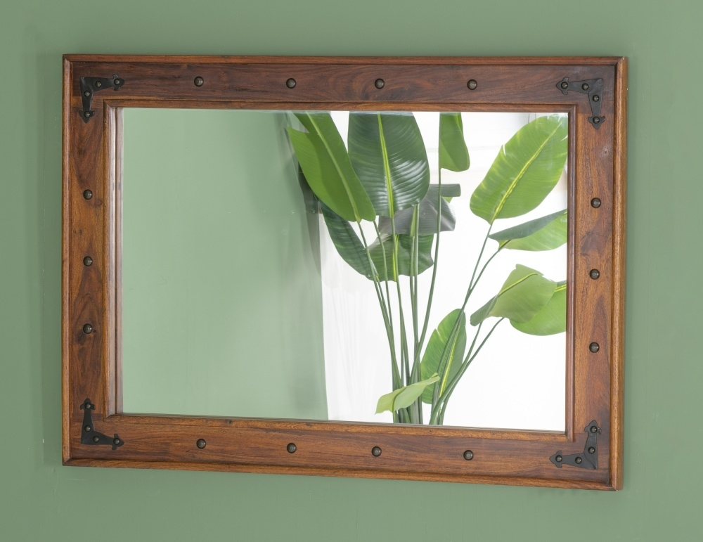 Ganga Indian Sheesham Wood Rectangular Wall Mirror - 80cm x 110cm