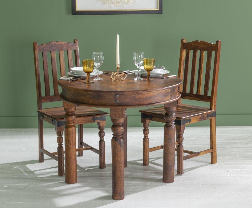 Ganga Indian Sheesham Wood 90cm Round Dining Table