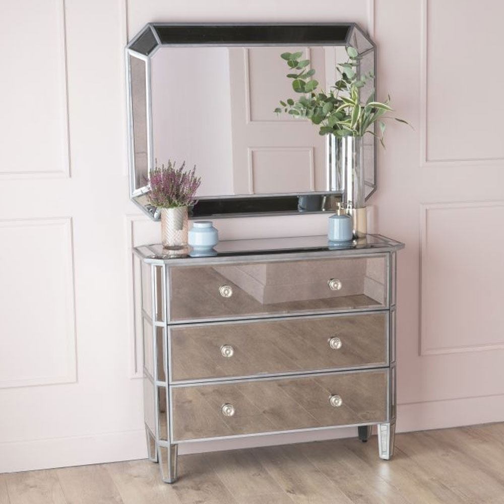 Urban Deco Gatsby Antiqued Mirrored 3 Drawer Chest