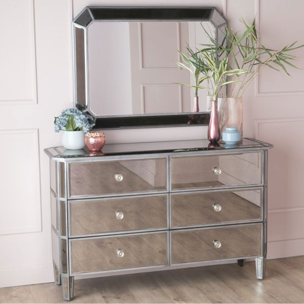 Urban Deco Gatsby Antiqued Mirrored 6 Drawer Chest