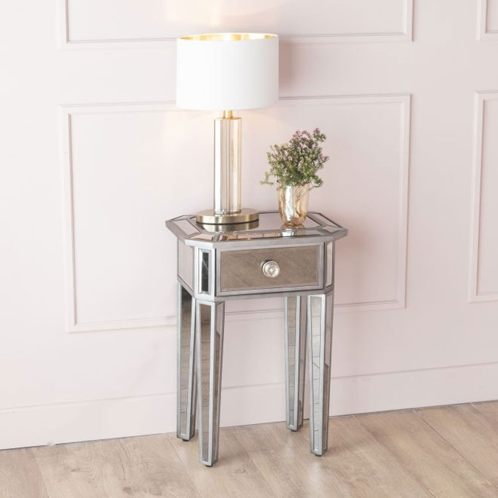 Gatsby French Aged Mirrored 1 Drawer Bedside Table