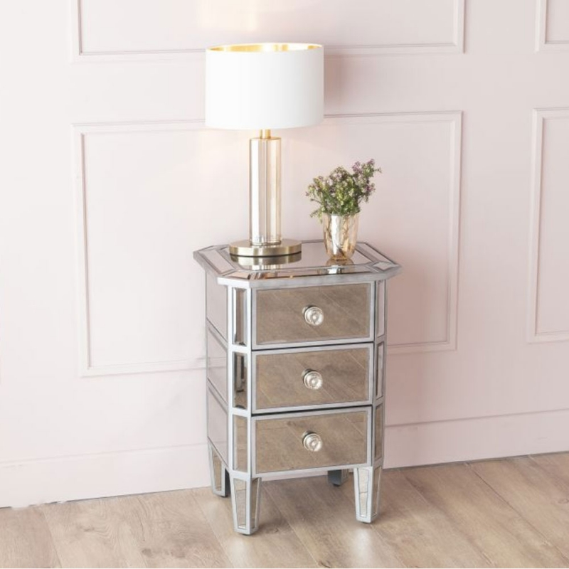 Gatsby French Aged Mirrored 3 Drawer Bedside Cabinet
