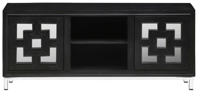 Urban Deco Geo 152cm Black Mirrored and Stainless Steel Chrome Base Large TV Unit