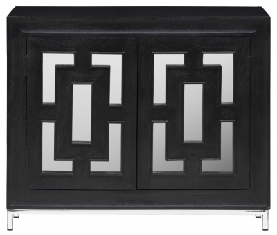 Urban Deco Geo Black Mirrored and Stainless Steel Chrome Base 2 Door Sideboard