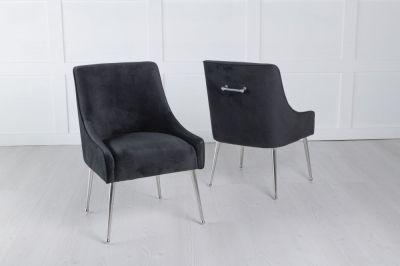 Giovanni Black Velvet Back Handle Dining Chair with Chrome Legs