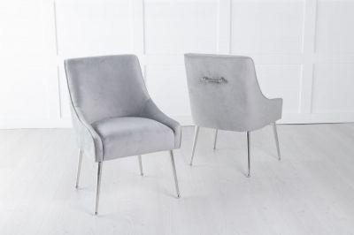 Giovanni Light Grey Velvet Back Handle Dining Chair with Chrome Legs