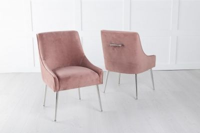 Giovanni Pink Velvet Back Handle Dining Chair with Chrome Legs